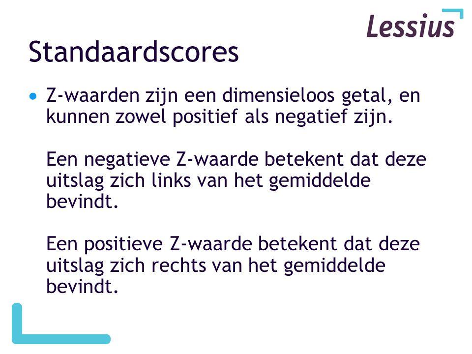 Standaardscores  Z-waarden zijn een dimensieloos getal, en kunnen zowel positief als negatief zijn. Een negatieve Z-waarde betekent dat deze uitslag
