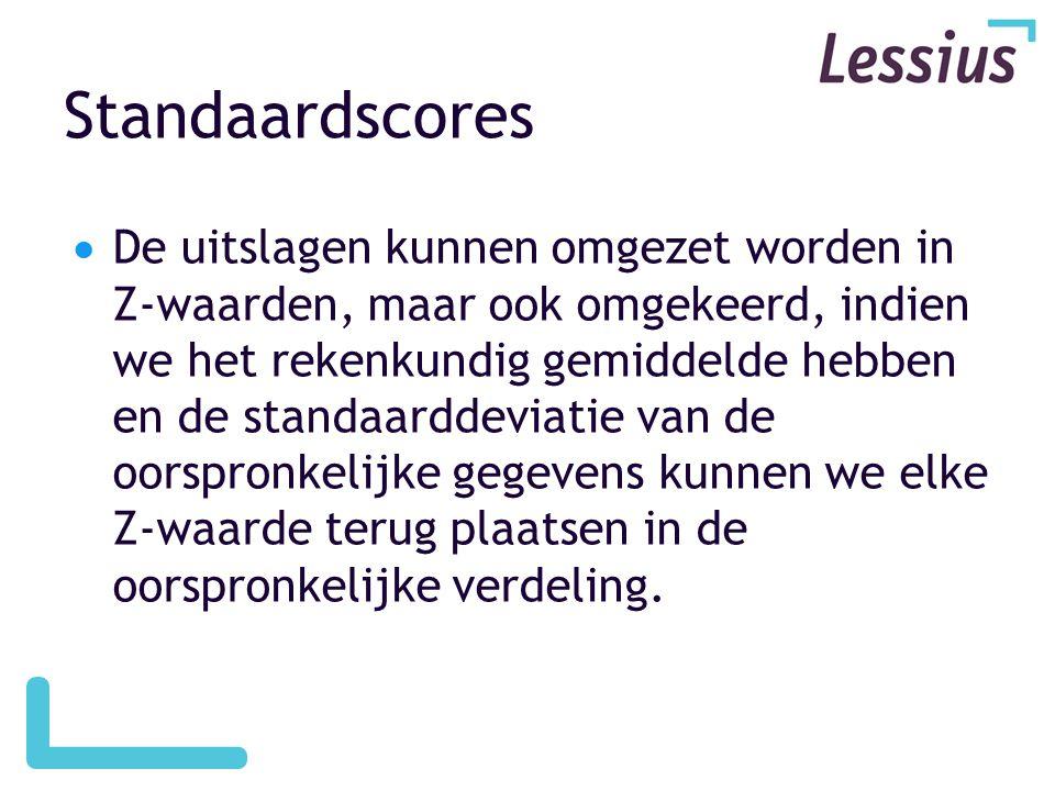 Standaardscores  De uitslagen kunnen omgezet worden in Z-waarden, maar ook omgekeerd, indien we het rekenkundig gemiddelde hebben en de standaarddevi
