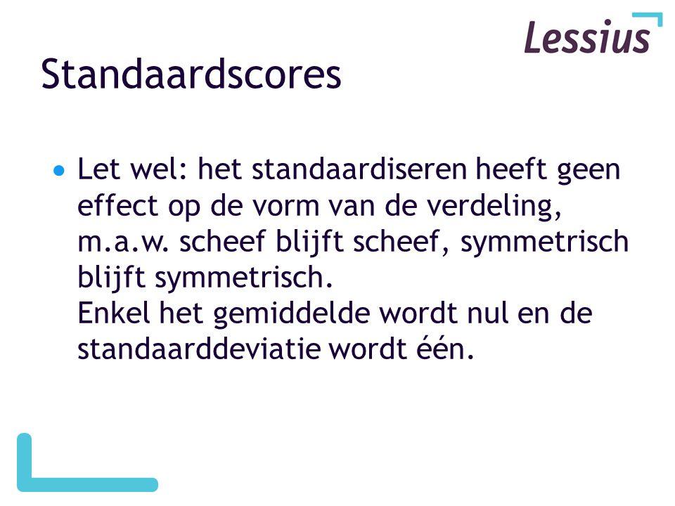Standaardscores  Let wel: het standaardiseren heeft geen effect op de vorm van de verdeling, m.a.w. scheef blijft scheef, symmetrisch blijft symmetri