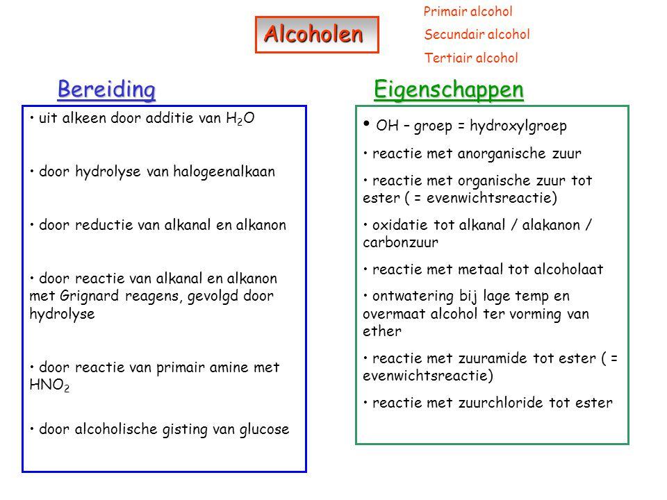 Ethers Ethers BereidingEigenschappen door ontwatering van alcoholen bij lage temp en overmaat alcohol door reactie van halogeenalkaan en alcoholaat (= Williamsonsynthese) reactie van primair amine met HNO 2 tot alcohol Brönsted base vorming van quaternaire ammoniumzouten Symmetrisch ether Asymmetrisch ether Aminen Aminen Bereiding Eigenschappen Primair / secundair en tertiair amine door reactie van halogeenalkaan met NH 3 door reactie van zuuramide met NaClO (= Hofmanse afbraak) vooral als oplosmiddel en extractiemiddel (weinig polair) weinig reactief brandbaar / explosief (worden omgezet to peroxiden, zelfs in de fles, die zeer explosief zijn)