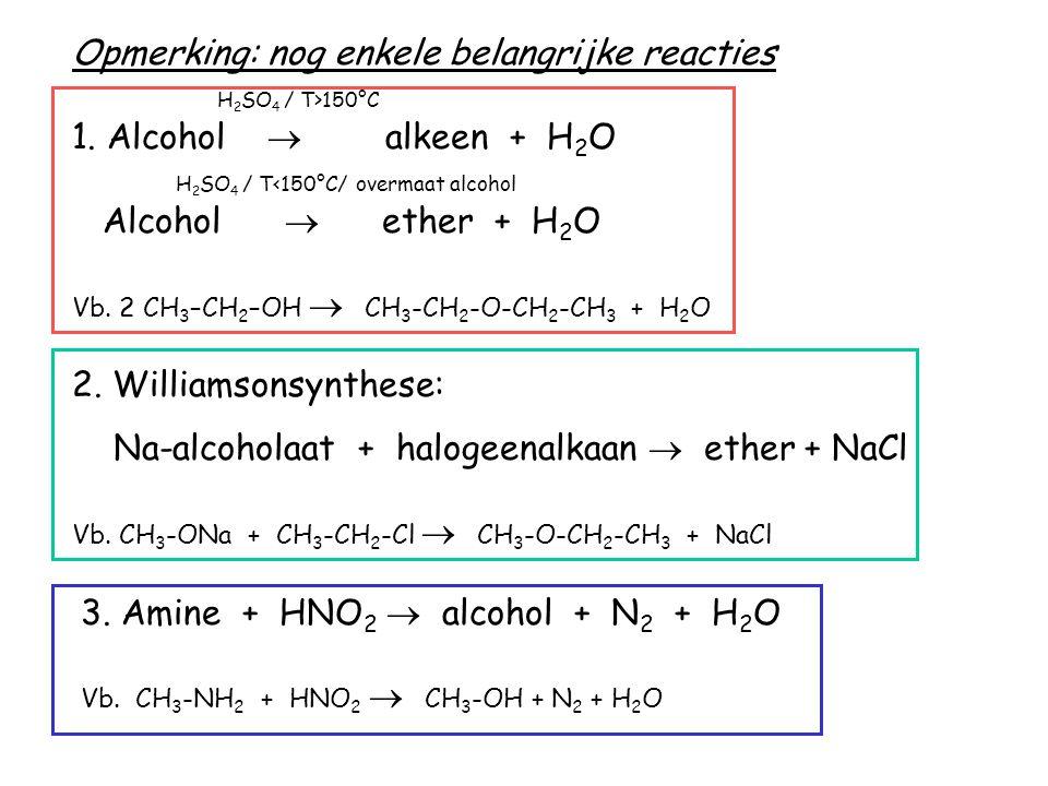 Opmerking: nog enkele belangrijke reacties H 2 SO 4 / T>150°C 1. Alcohol  alkeen + H 2 O H 2 SO 4 / T<150°C/ overmaat alcohol Alcohol  ether + H 2 O