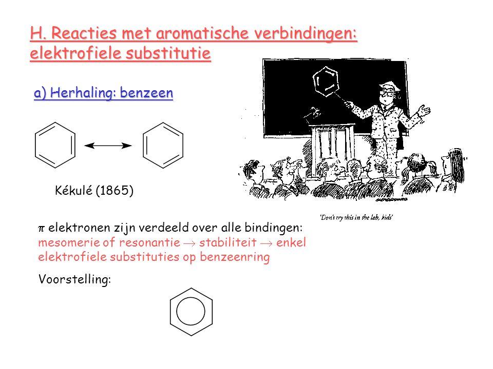 H. Reacties met aromatische verbindingen: elektrofiele substitutie a) Herhaling: benzeen Kékulé (1865)  elektronen zijn verdeeld over alle bindingen: