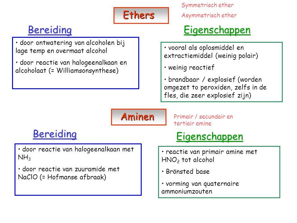 Aldehyden en ketonen Aldehyden en ketonen Bereiding O R' = H -> aldehyde R – C R' R' = C-keten -> keton door oxidatie van alcohol door reductie van carbonzuur Eigenschappen reactie met Grignard reagens tot alcohol reductie tot alcohol Carbonzuren Carbonzuren Bereiding Eigenschappen door oxidatie van primair alcohol of alkanal door reactie van Grignard reagens + CO 2, gevolgd door hydrolyse door reactie van zuurchloride met H 2 O door reactie van zuuramide met HNO 2 zwakke zuren pKa > 2 reactie met alcohol tot ester reactie met anorganische hydroxiden tot organische zouten reductie tot alkanal / alcohol reactie met PCl 3 / PCl 5 of SOCl 2 tot zuurchloride reactie met NH 3 tot zuuramide
