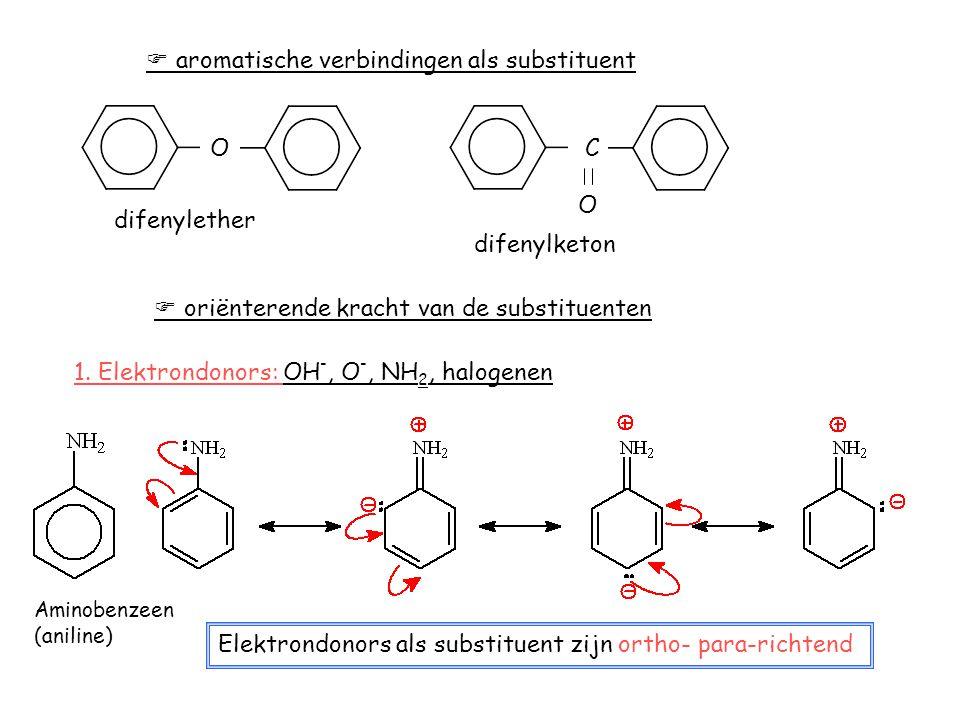  aromatische verbindingen als substituent O difenylether C O difenylketon  oriënterende kracht van de substituenten 1. Elektrondonors: OH -, O -, NH