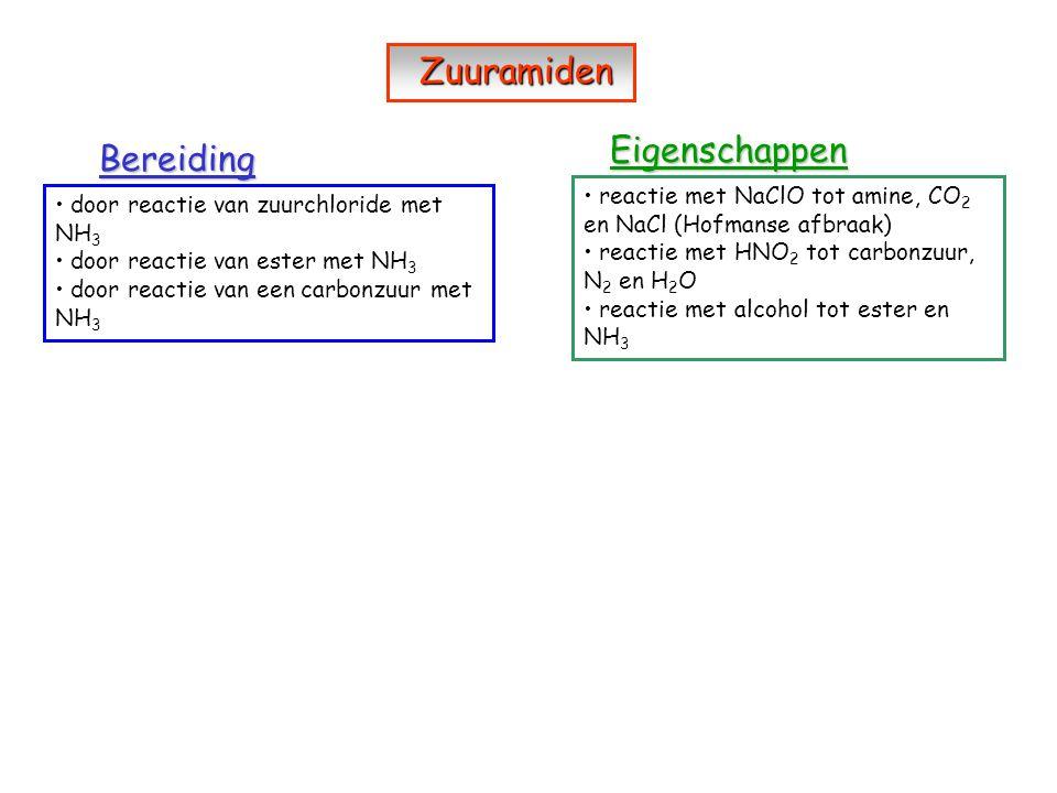 Bereiding Eigenschappen door reactie van zuurchloride met NH 3 door reactie van ester met NH 3 door reactie van een carbonzuur met NH 3 reactie met Na
