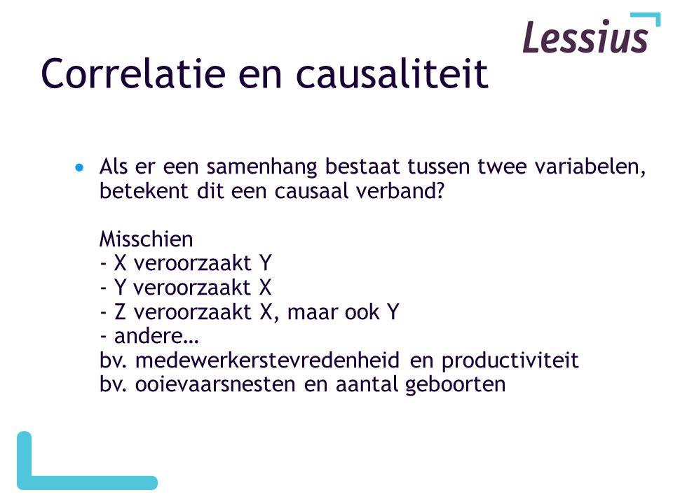 Correlatie en causaliteit  Als er een samenhang bestaat tussen twee variabelen, betekent dit een causaal verband? Misschien - X veroorzaakt Y - Y ver