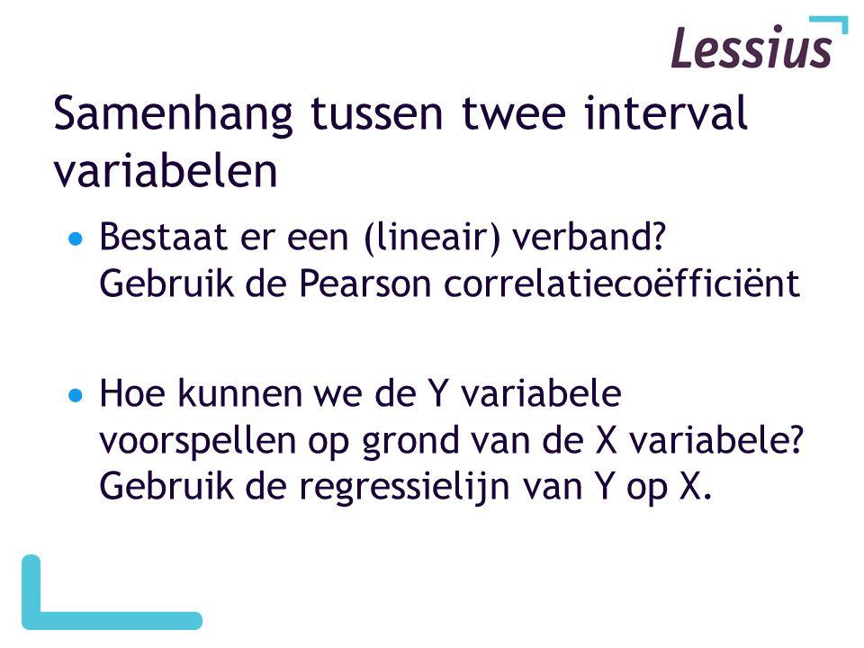 Correlatie en causaliteit  Als er een samenhang bestaat tussen twee variabelen, betekent dit een causaal verband.
