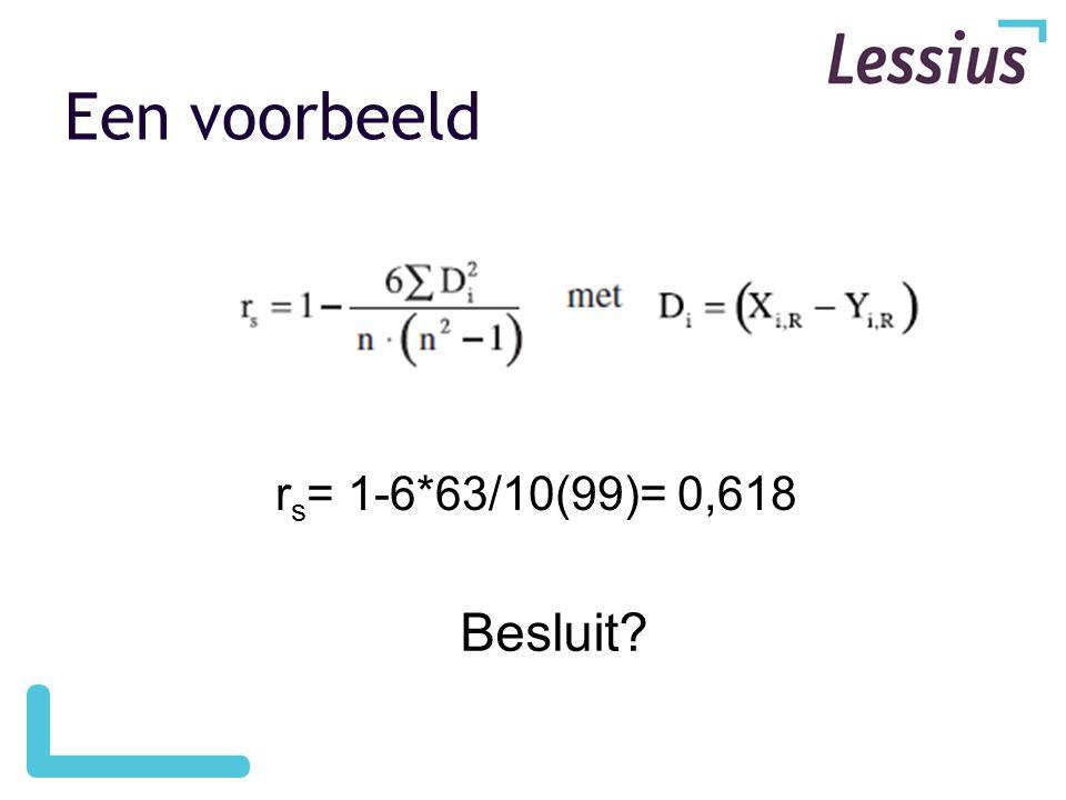Een voorbeeld r s = 1-6*63/10(99)= 0,618 Besluit?
