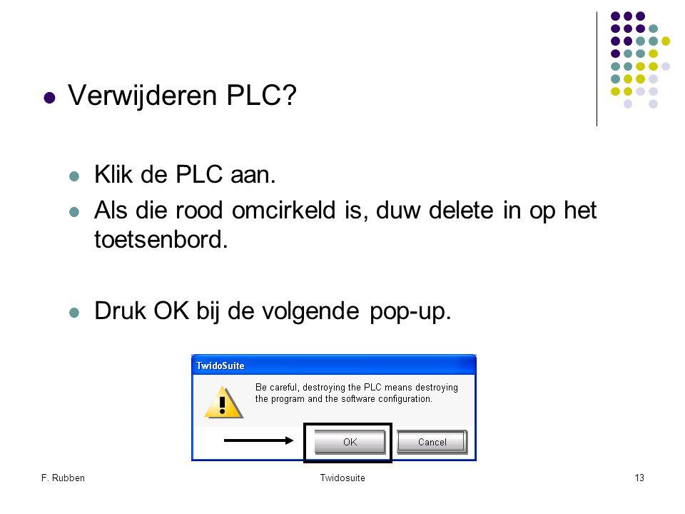 F. RubbenTwidosuite13 Verwijderen PLC? Klik de PLC aan. Als die rood omcirkeld is, duw delete in op het toetsenbord. Druk OK bij de volgende pop-up.
