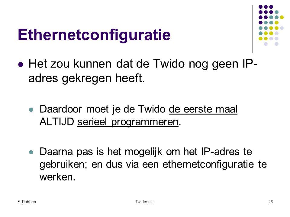 F. RubbenTwidosuite26 Ethernetconfiguratie Het zou kunnen dat de Twido nog geen IP- adres gekregen heeft. Daardoor moet je de Twido de eerste maal ALT