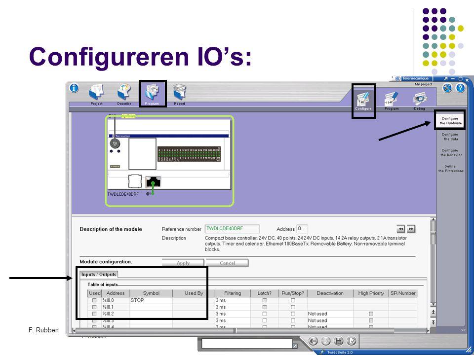 F. RubbenTwidosuite31 Configureren IO's: