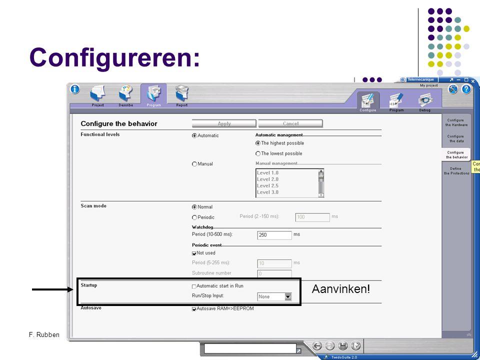 F. RubbenTwidosuite35 Configureren: Aanvinken!