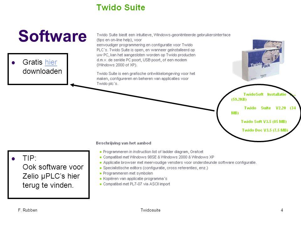 F. RubbenTwidosuite4 Software Gratis hier downloadenhier TIP: Ook software voor Zelio µPLC's hier terug te vinden.