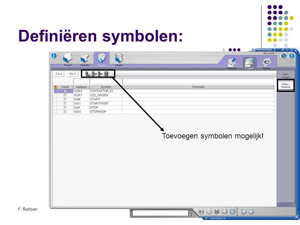 F. RubbenTwidosuite42 Definiëren symbolen: Toevoegen symbolen mogelijk!
