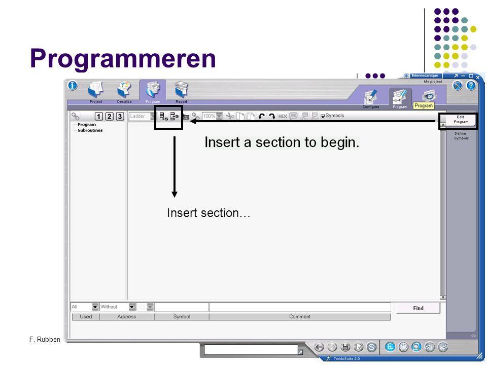 F. RubbenTwidosuite43 Programmeren Insert section…
