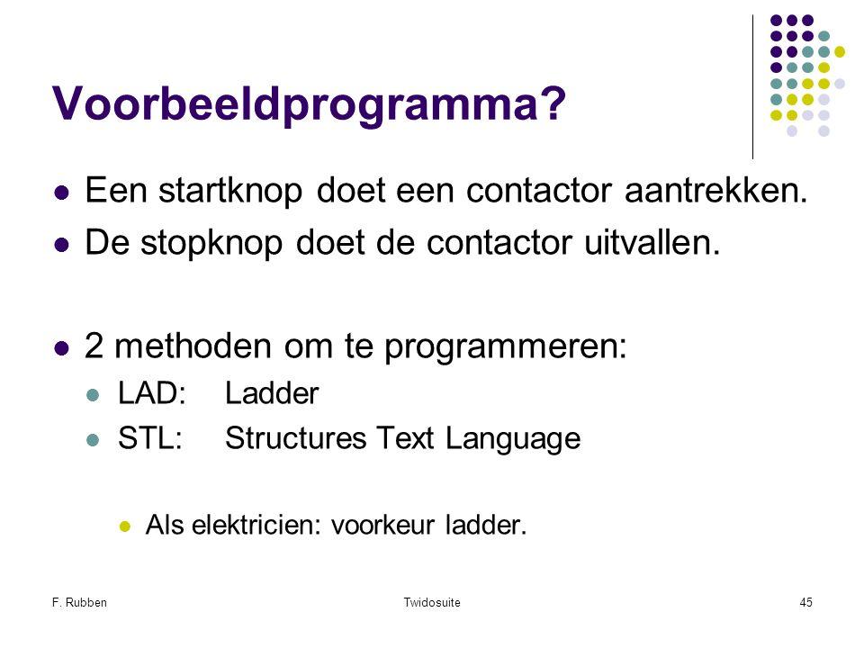 F. RubbenTwidosuite45 Voorbeeldprogramma? Een startknop doet een contactor aantrekken. De stopknop doet de contactor uitvallen. 2 methoden om te progr
