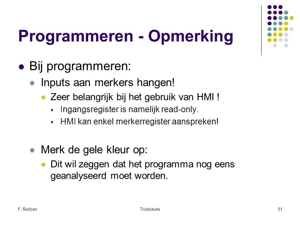 F. RubbenTwidosuite51 Programmeren - Opmerking Bij programmeren: Inputs aan merkers hangen! Zeer belangrijk bij het gebruik van HMI !  Ingangsregiste