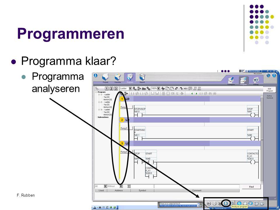 F. RubbenTwidosuite52 Programmeren Programma klaar? Programma analyseren