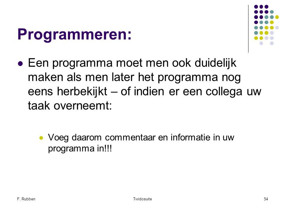 F. RubbenTwidosuite54 Programmeren: Een programma moet men ook duidelijk maken als men later het programma nog eens herbekijkt – of indien er een coll