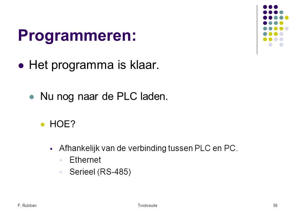 F. RubbenTwidosuite56 Programmeren: Het programma is klaar. Nu nog naar de PLC laden. HOE?  Afhankelijk van de verbinding tussen PLC en PC.  Etherne