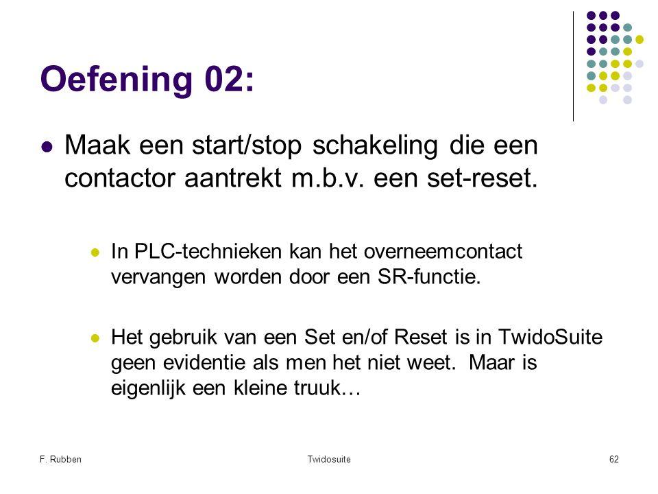 F. RubbenTwidosuite62 Oefening 02: Maak een start/stop schakeling die een contactor aantrekt m.b.v. een set-reset. In PLC-technieken kan het overneemc