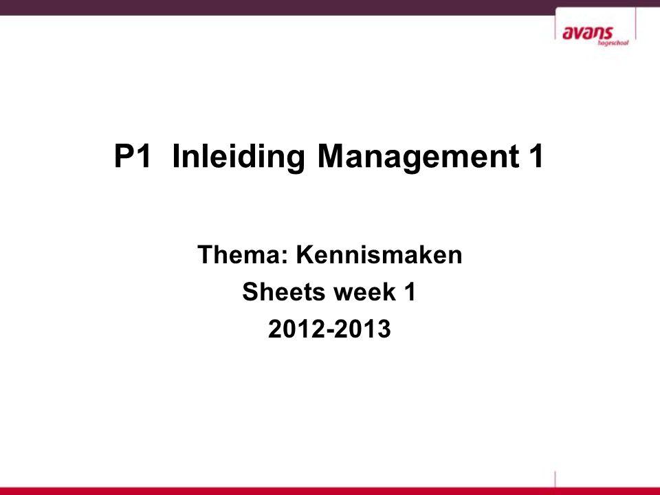 2 Les 1 Introductie Relatie vakgebied Management met het thema van de P1: De kennismaking Relatie vakgebied Management met de beroepspraktijk http://nos.nl/artikel/267409-abn-amro-schrapt-2350-arbeidsplaatsen.html MER P1 Inleiding Management 1 2012 - 2013