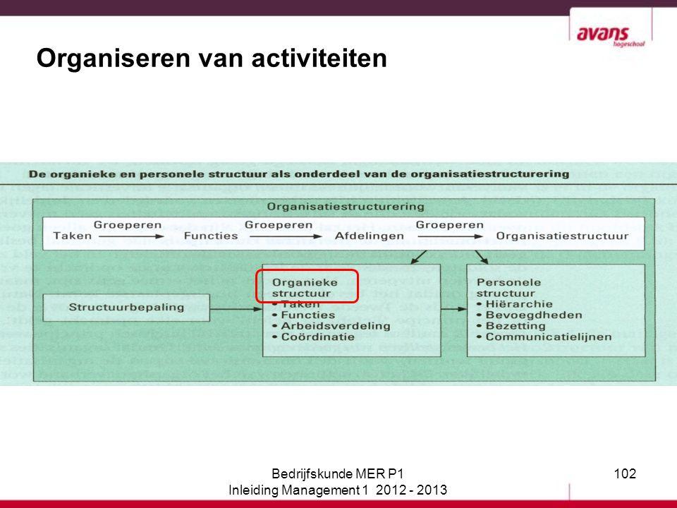 102 Organiseren van activiteiten Bedrijfskunde MER P1 Inleiding Management 1 2012 - 2013