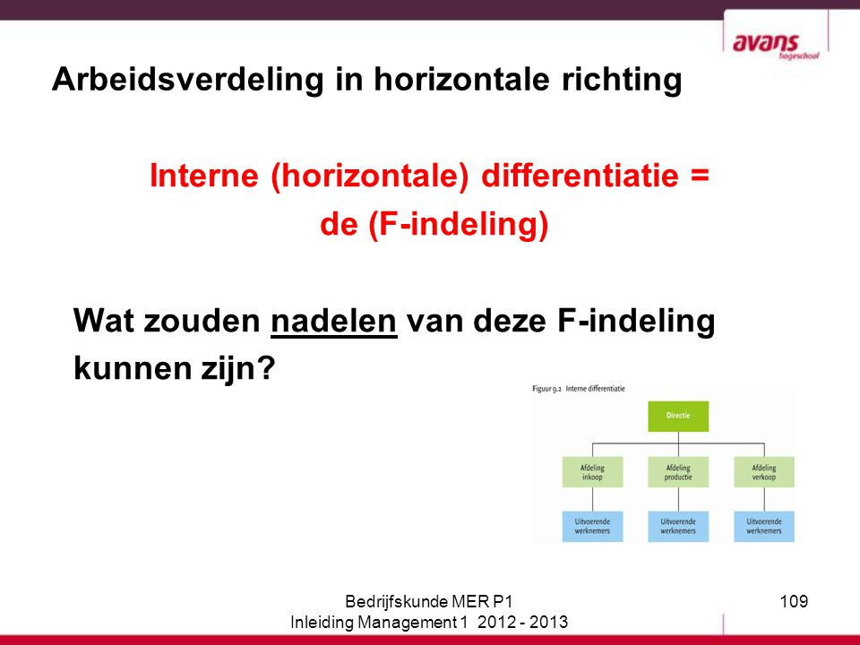 109 Arbeidsverdeling in horizontale richting Interne (horizontale) differentiatie = de (F-indeling) Wat zouden nadelen van deze F-indeling kunnen zijn