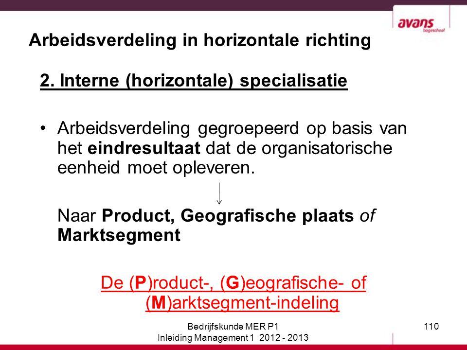110 Arbeidsverdeling in horizontale richting 2. Interne (horizontale) specialisatie Arbeidsverdeling gegroepeerd op basis van het eindresultaat dat de