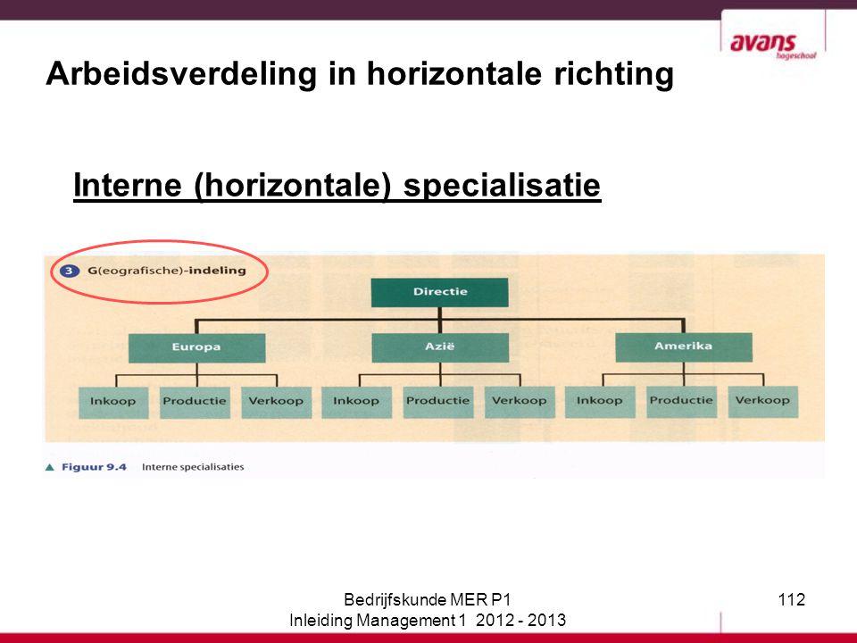 112 Arbeidsverdeling in horizontale richting Interne (horizontale) specialisatie Bedrijfskunde MER P1 Inleiding Management 1 2012 - 2013