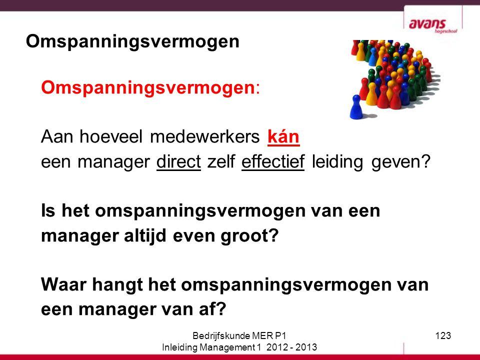 123 Omspanningsvermogen Omspanningsvermogen: Aan hoeveel medewerkers kán een manager direct zelf effectief leiding geven? Is het omspanningsvermogen v