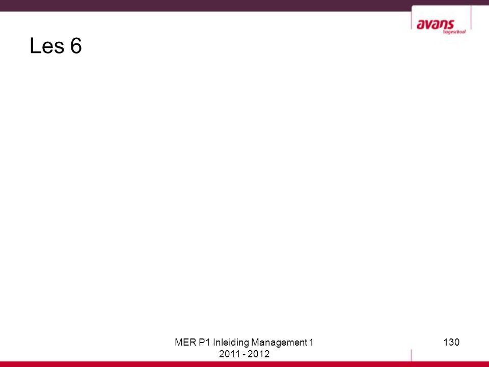 Les 6 MER P1 Inleiding Management 1 2011 - 2012 130