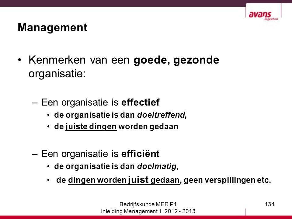 134 Management Kenmerken van een goede, gezonde organisatie: –Een organisatie is effectief de organisatie is dan doeltreffend, de juiste dingen worden