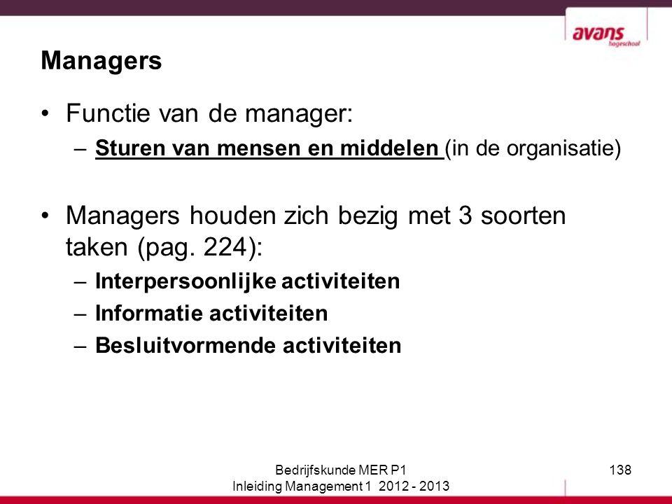 138 Functie van de manager: –Sturen van mensen en middelen (in de organisatie) Managers houden zich bezig met 3 soorten taken (pag. 224): –Interpersoo