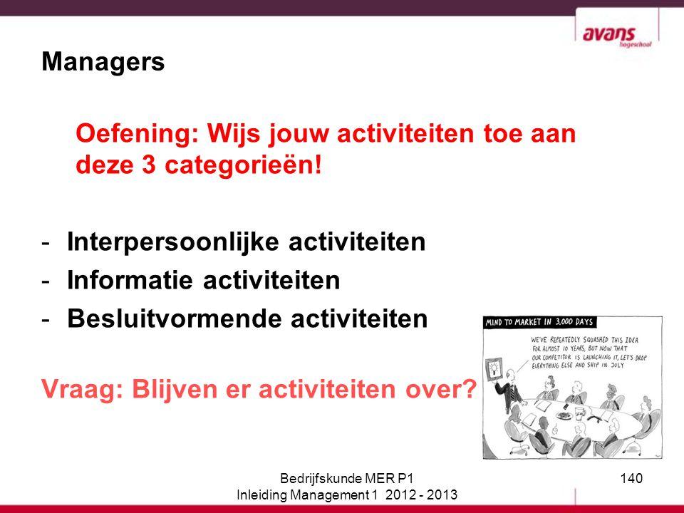 140 Oefening: Wijs jouw activiteiten toe aan deze 3 categorieën! -Interpersoonlijke activiteiten -Informatie activiteiten -Besluitvormende activiteite