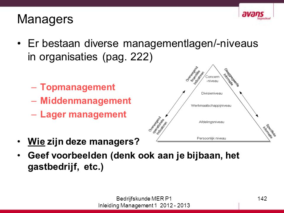 142 Managers Er bestaan diverse managementlagen/-niveaus in organisaties (pag. 222) –Topmanagement –Middenmanagement –Lager management Wie zijn deze m