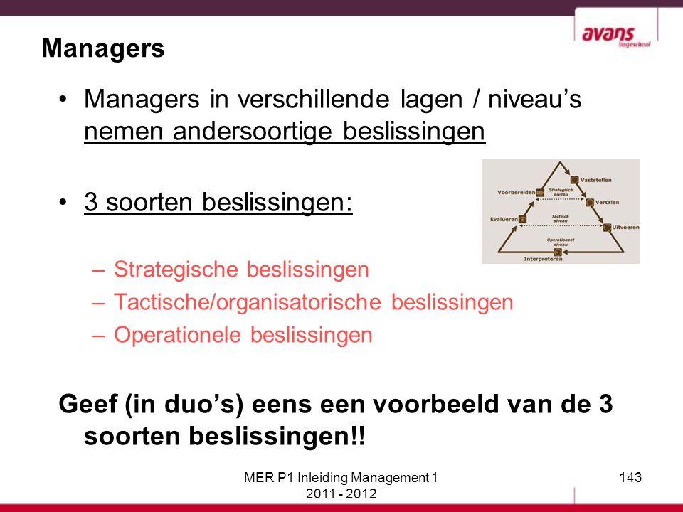 MER P1 Inleiding Management 1 2011 - 2012 143 Managers Managers in verschillende lagen / niveau's nemen andersoortige beslissingen 3 soorten beslissin