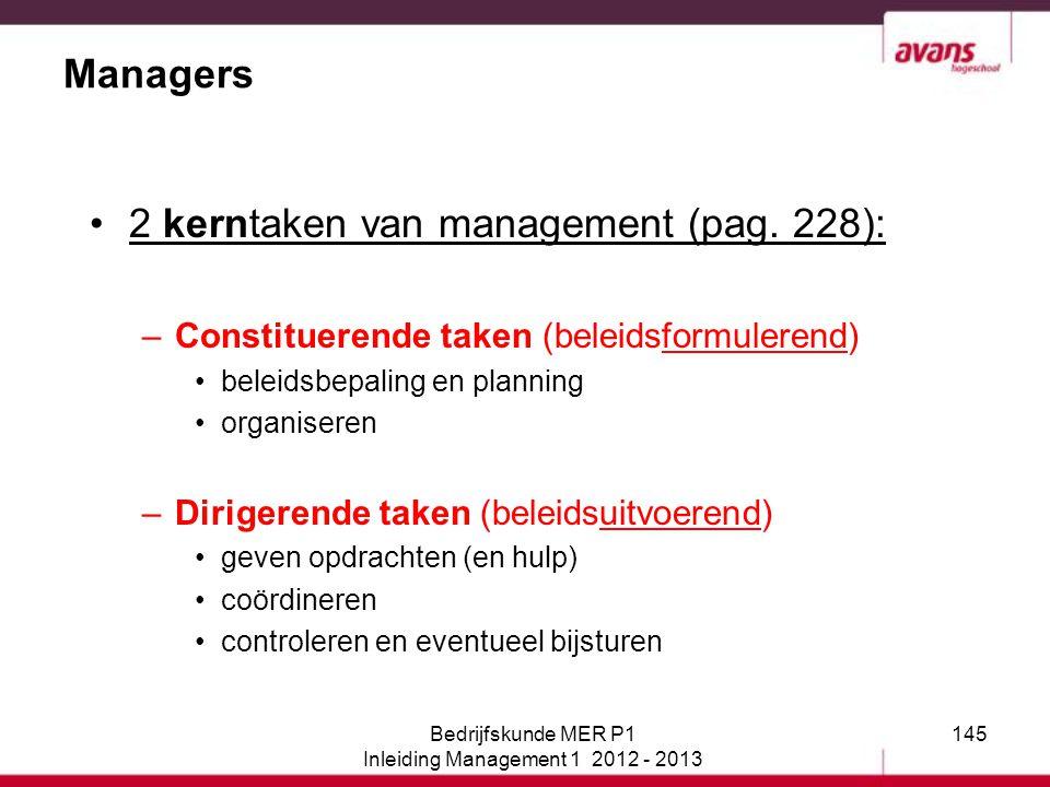 145 Managers 2 kerntaken van management (pag. 228): –Constituerende taken (beleidsformulerend) beleidsbepaling en planning organiseren –Dirigerende ta