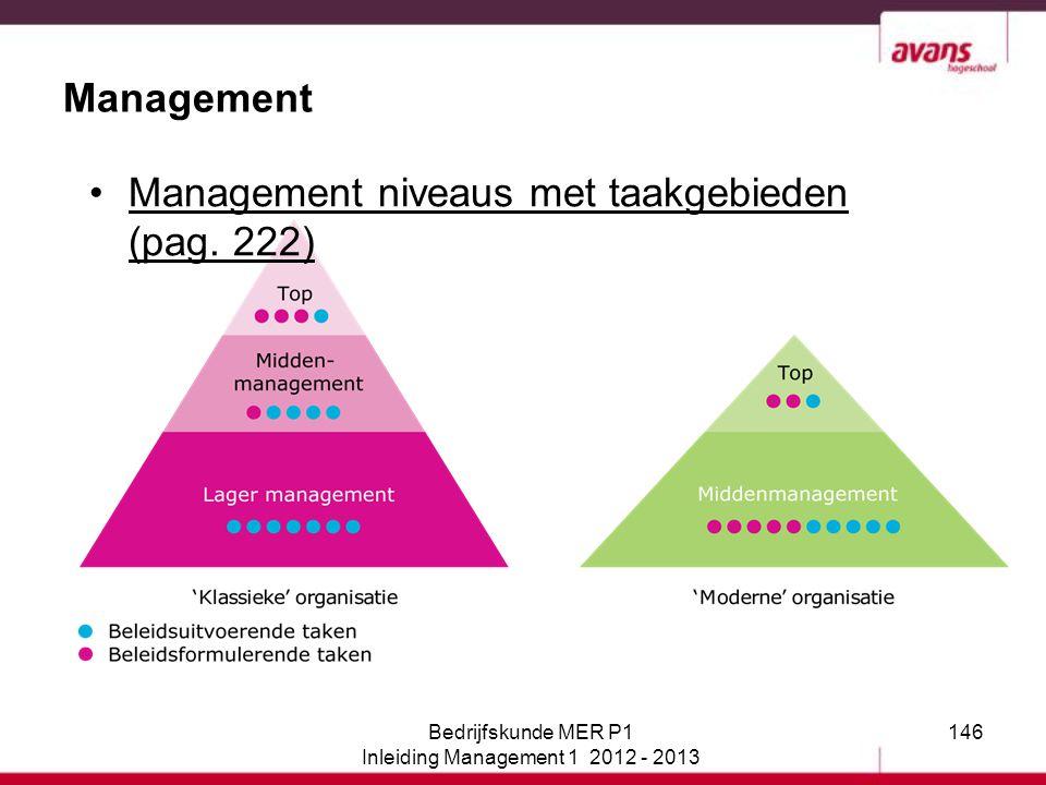 146 Management Bedrijfskunde MER P1 Inleiding Management 1 2012 - 2013 Management niveaus met taakgebieden (pag. 222)