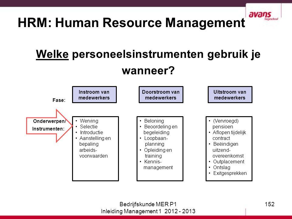 152 HRM: Human Resource Management Welke personeelsinstrumenten gebruik je wanneer? Fase: Onderwerpen/ Instrumenten: Instroom van medewerkers Doorstro