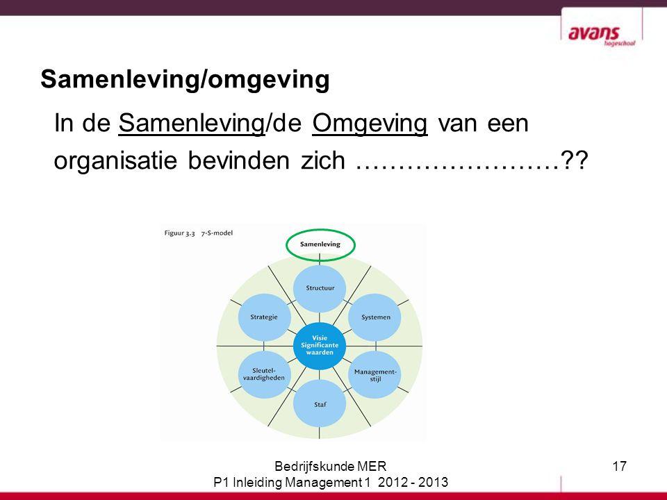 17 Samenleving/omgeving In de Samenleving/de Omgeving van een organisatie bevinden zich ……………………?? Bedrijfskunde MER P1 Inleiding Management 1 2012 -
