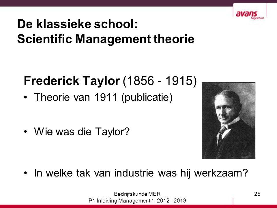25 De klassieke school: Scientific Management theorie Frederick Taylor (1856 - 1915) Theorie van 1911 (publicatie) Wie was die Taylor? In welke tak va