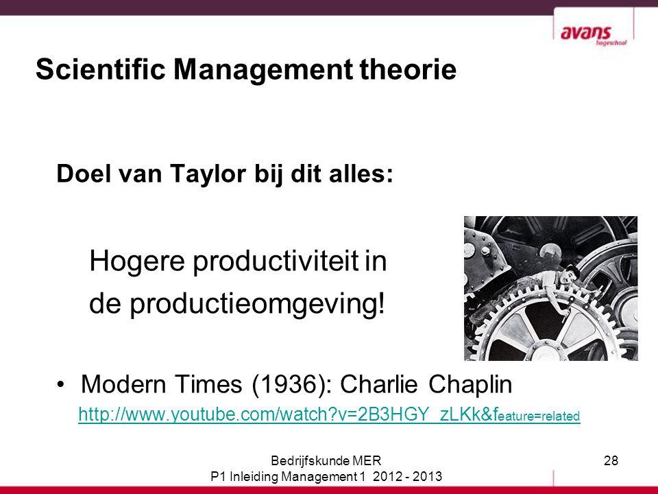 28 Scientific Management theorie Doel van Taylor bij dit alles: Hogere productiviteit in de productieomgeving! Modern Times (1936): Charlie Chaplin ht