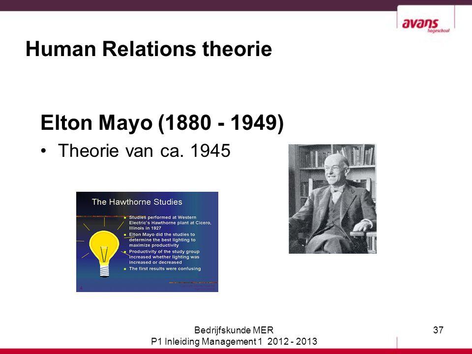 37 Human Relations theorie Elton Mayo (1880 - 1949) Theorie van ca. 1945 Bedrijfskunde MER P1 Inleiding Management 1 2012 - 2013