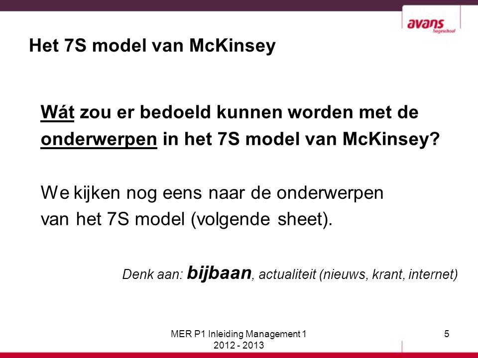 106Bedrijfskunde MER P1 Inleiding Management 1 2012 - 2013