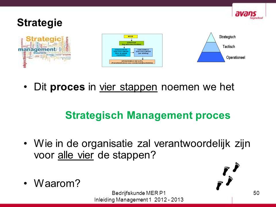 50 Strategie Dit proces in vier stappen noemen we het Strategisch Management proces Wie in de organisatie zal verantwoordelijk zijn voor alle vier de
