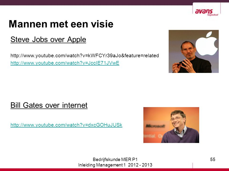 55 Mannen met een visie Steve Jobs over Apple http://www.youtube.com/watch?v=kWFCYr39aJo&feature=related http://www.youtube.com/watch?v=JccIE71JVwE Bi