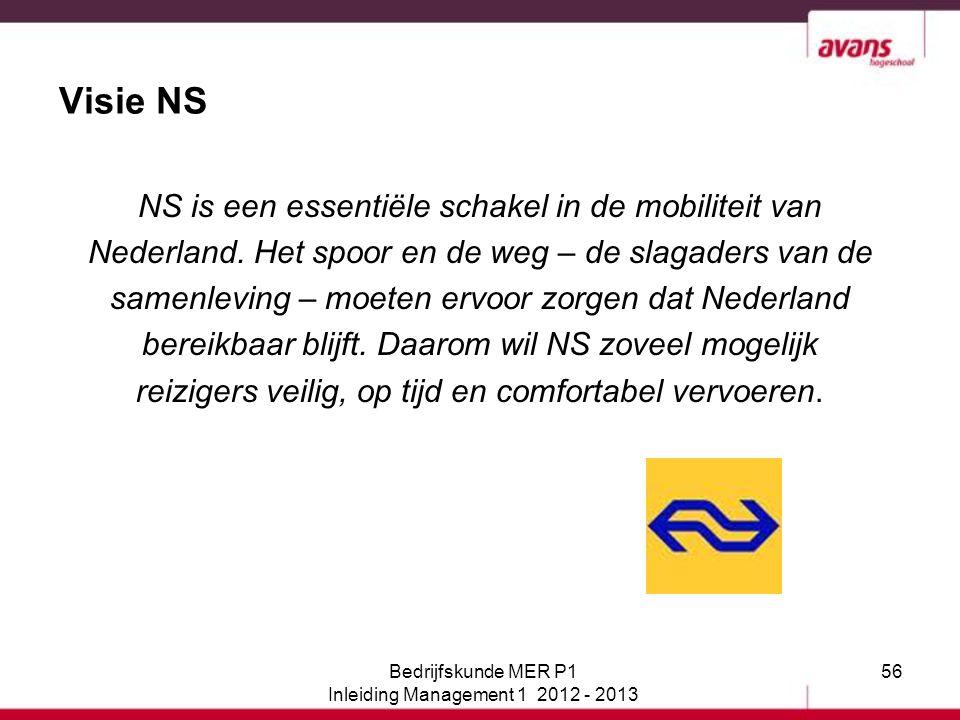 56 Visie NS NS is een essentiële schakel in de mobiliteit van Nederland. Het spoor en de weg – de slagaders van de samenleving – moeten ervoor zorgen