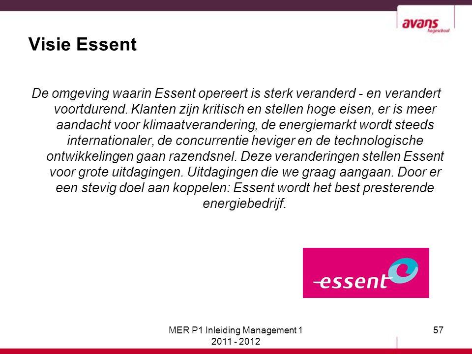 Visie Essent De omgeving waarin Essent opereert is sterk veranderd - en verandert voortdurend. Klanten zijn kritisch en stellen hoge eisen, er is meer
