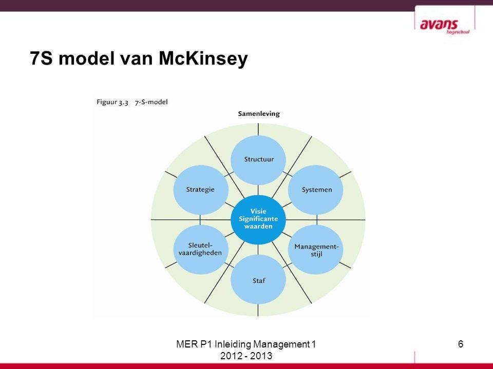 47 Het 7S model van McKinsey In het 7S model zijn 'harde' en 'zachte' S'-en te onderscheiden: Een harde S: is tastbaar/zichtbaar, is te beschrijven of in een schema te zetten Welke S'-en zijn hard en waarom.